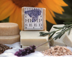 Hemp soaps and sunflower, hemp seeds, oatmeal, lavender.